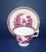 Pink Lustre 'Girl with Sheep' Porcelain Cup and Saucer c1830